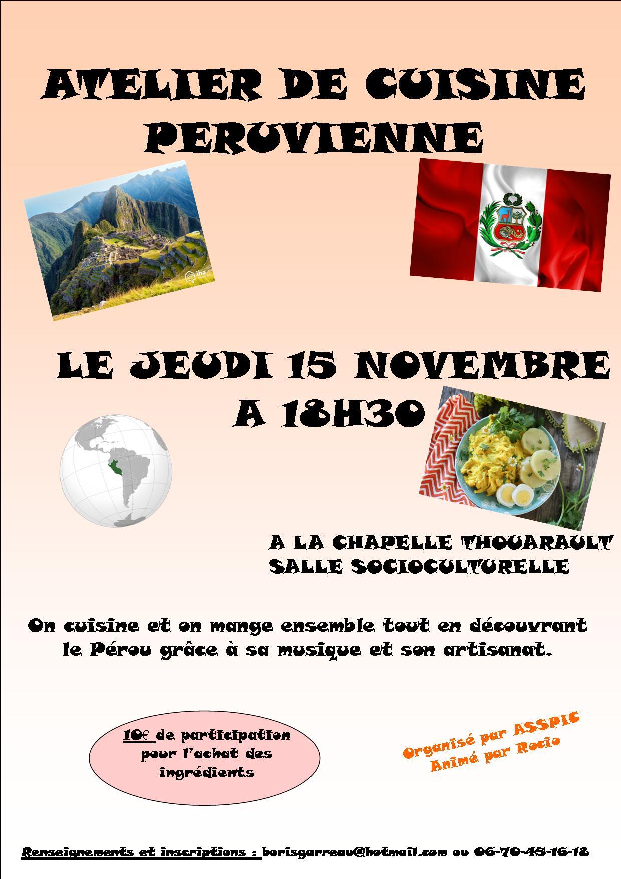 Affiche atelier cuisine péruvienne à La Chapelle-Thouarault